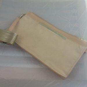 Aldo Bags - ALDO Pastel Suede Clutch Purse w/Wristlet, Gold